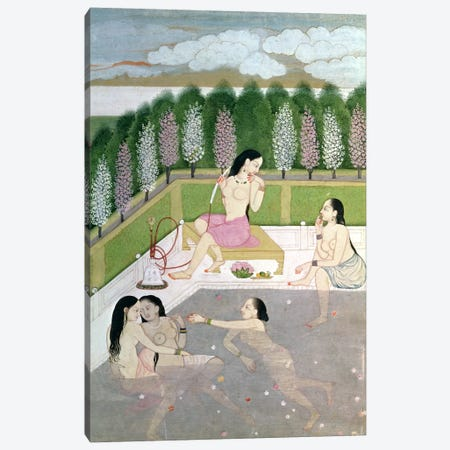 Girls Bathing, Pahari Style, Kangra School, Himachel Pradesh, 18th century  Canvas Print #BMN1504} by Indian School Canvas Artwork