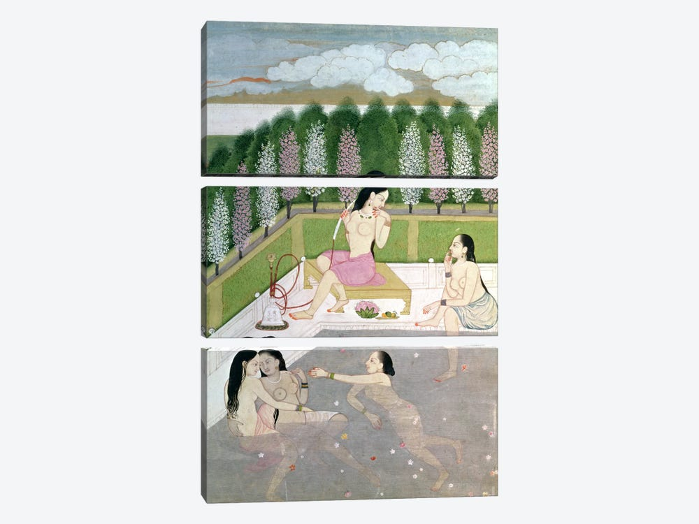 Girls Bathing, Pahari Style, Kangra School, Himachel Pradesh, 18th century  3-piece Canvas Art Print