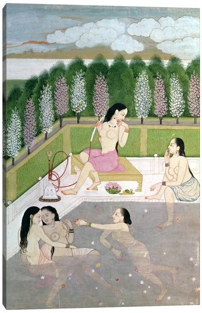 Girls Bathing, Pahari Style, Kangra School, Himachel Pradesh, 18th century  Canvas Art Print