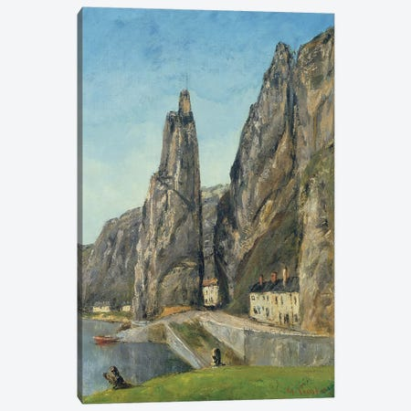 The Rock at Bayard, Dinant, Belgium, c.1856  3-Piece Canvas #BMN1505} by Gustave Courbet Canvas Art