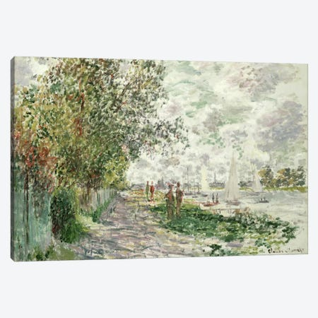 The Riverbank at Gennevilliers, c.1875  Canvas Print #BMN1509} by Claude Monet Canvas Art Print