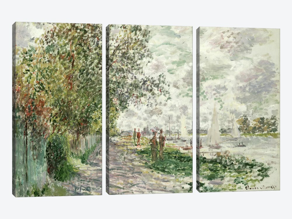 The Riverbank at Gennevilliers, c.1875  by Claude Monet 3-piece Canvas Art