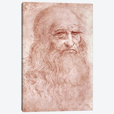 Digital Rendition, Self Portrait, c.1515-16 (Musei Reali Torino) Canvas Print #BMN1510} by Leonardo da Vinci Canvas Art