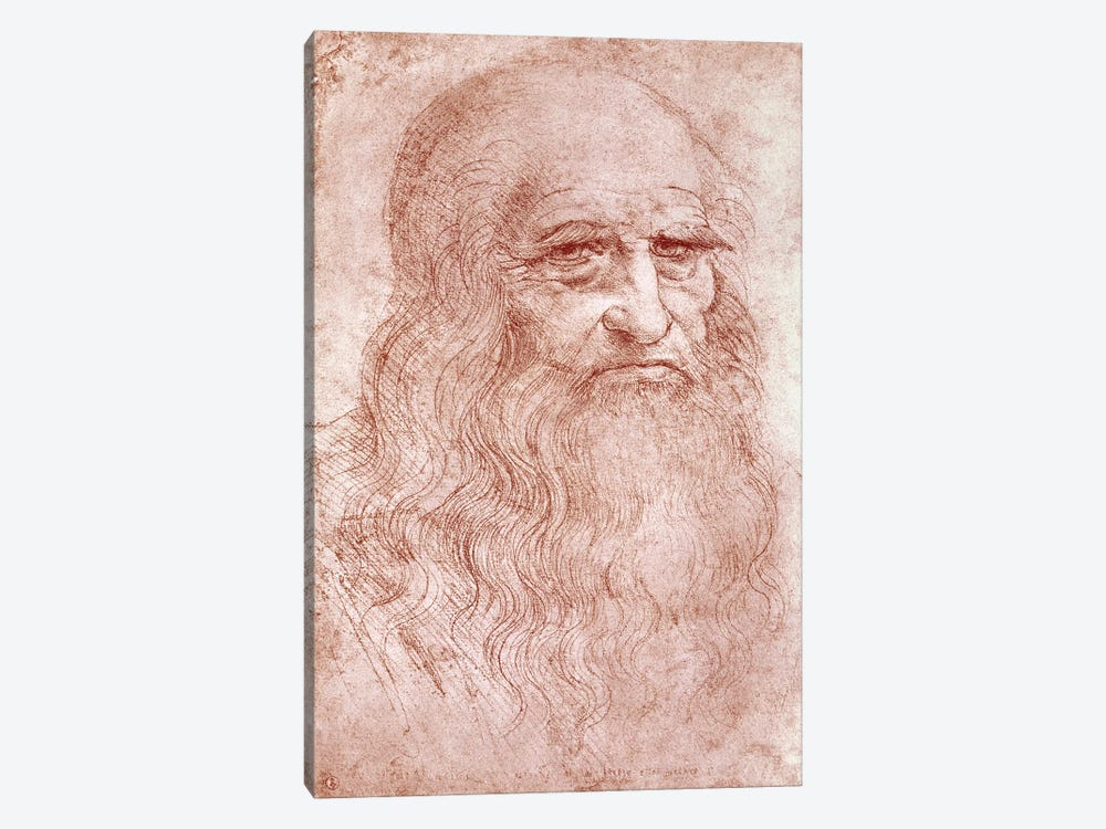 Digital Rendition, Self Portrait, c.1515-16 (Musei Reali Torino) by Leonardo da Vinci 1-piece Canvas Wall Art