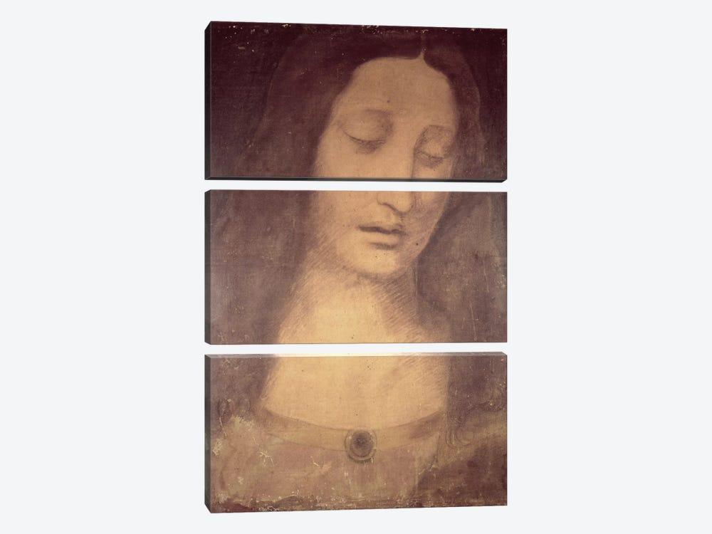Head Of Christ (Musee des Beaux-Arts de Strasbourg) by Leonardo da Vinci 3-piece Canvas Print