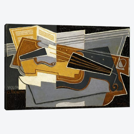 Violin and Clarinet, 1921 (oil on canvas) Canvas Print #BMN151} by Juan Gris Canvas Wall Art