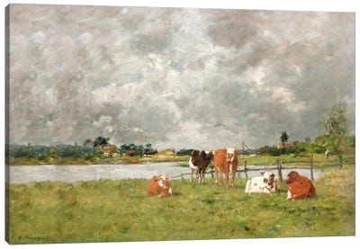 Cows in a Field under a Stormy Sky, 1877  Canvas Art Print