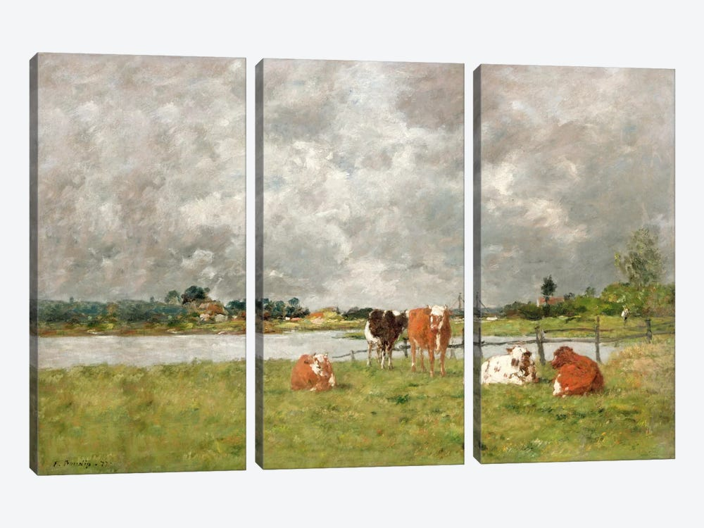 Cows in a Field under a Stormy Sky, 1877 by Eugene Louis Boudin 3-piece Art Print