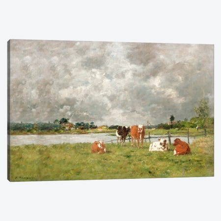 Cows in a Field under a Stormy Sky, 1877  Canvas Print #BMN1522} by Eugene Louis Boudin Canvas Print