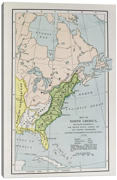 Map of North America, showing the boundaries of the United States, Canada and the Spanish Possessions, according to the proposals of the Court of France in 1782, from 'The Narrative and Critical History of America', edited by Justin Winsor, London, 1886  Canvas Print #BMN1533