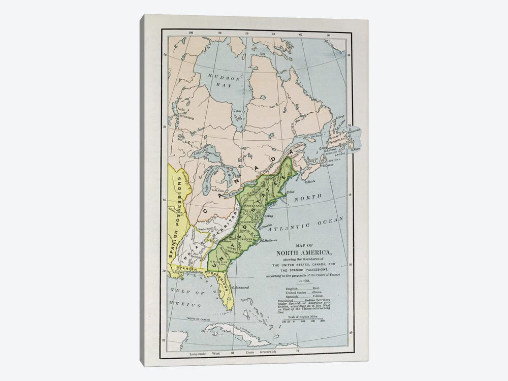 Map Of North America Showing Possession Boundaries, The Narrative And Critical History of America by English School 1-piece Canvas Art Print