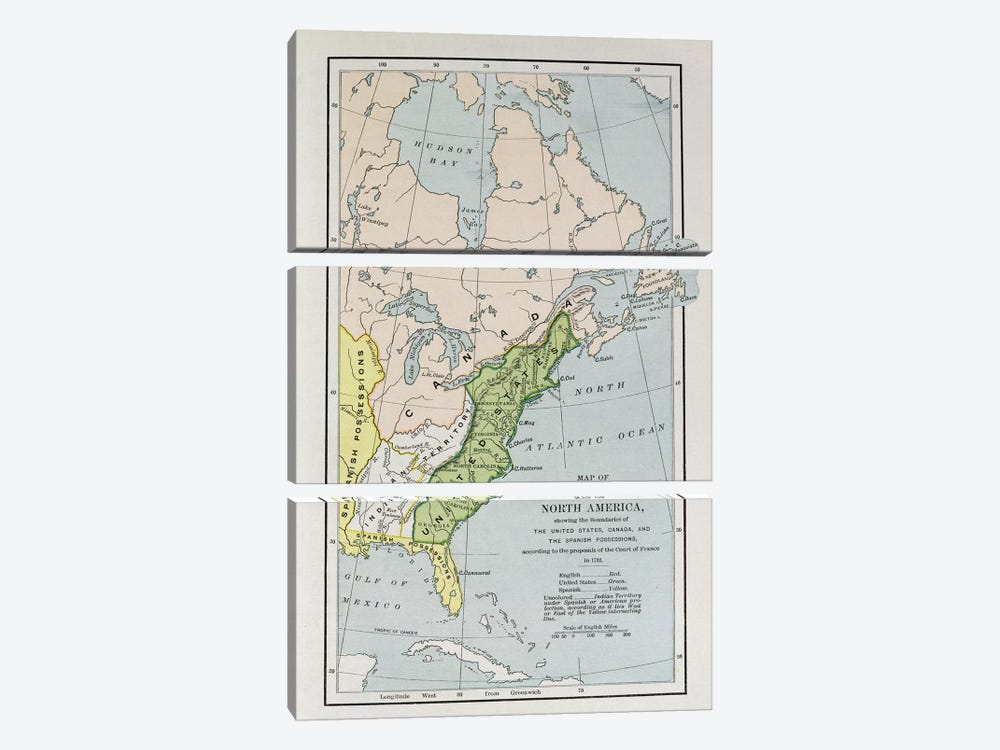 Map Of North America Showing Possession Boundaries, The Narrative And Critical History of America by English School 3-piece Canvas Print