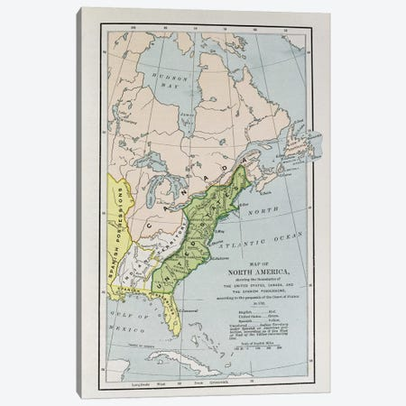Map Of North America Showing Possession Boundaries, The Narrative And Critical History of America Canvas Print #BMN1533} by English School Canvas Wall Art