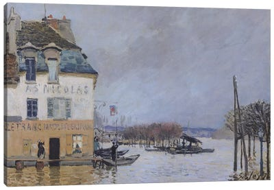 The Flood at Port-Marly, 1876  Canvas Art Print