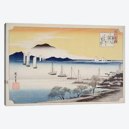 Yabase kihan (Returning Sails at Yabase) Canvas Print #BMN1538} by Utagawa Hiroshige Canvas Art