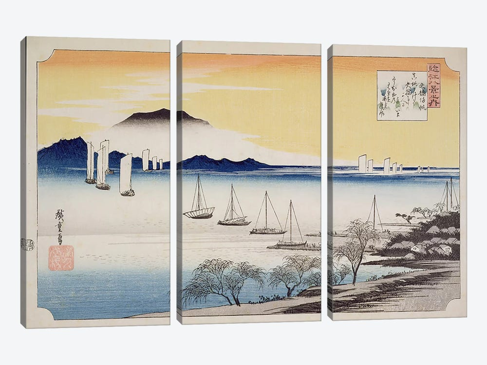 Yabase kihan (Returning Sails at Yabase) by Utagawa Hiroshige 3-piece Canvas Art