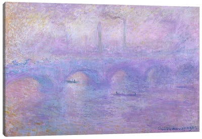 Waterloo Bridge in Fog, 1899-1901 Canvas Art Print