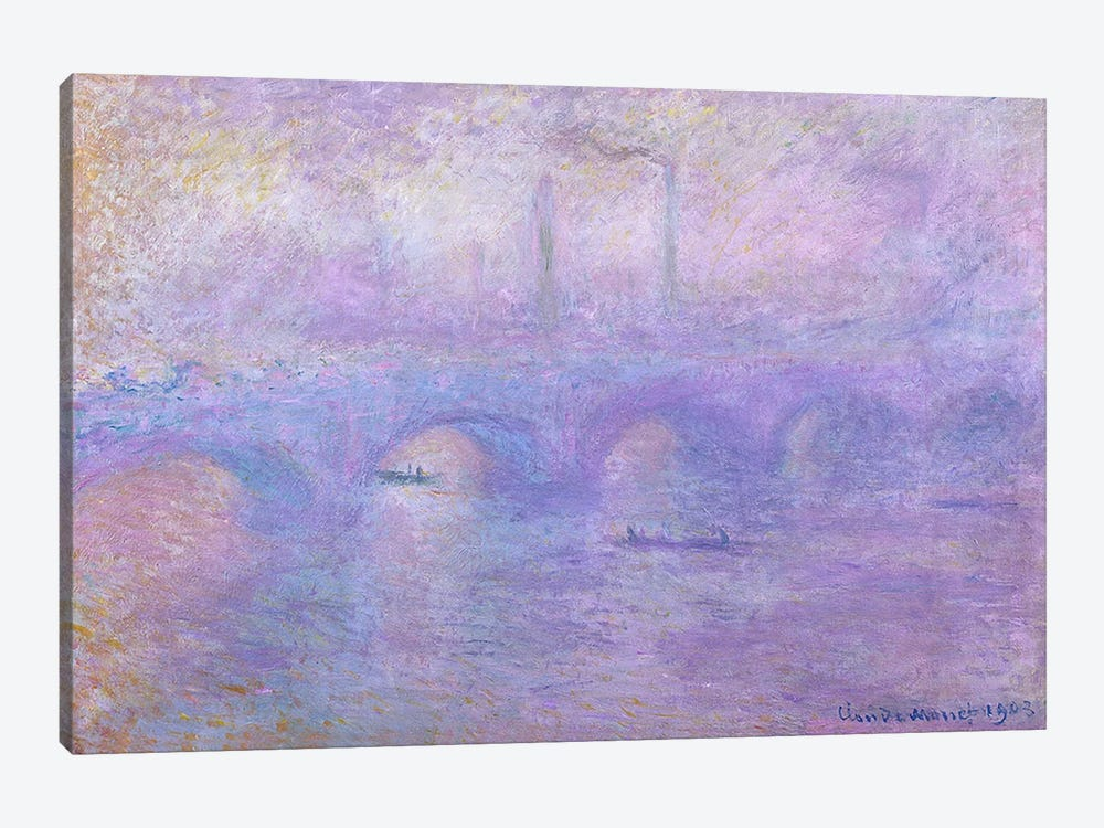 Waterloo Bridge in Fog, 1899-1901 by Claude Monet 1-piece Canvas Art Print