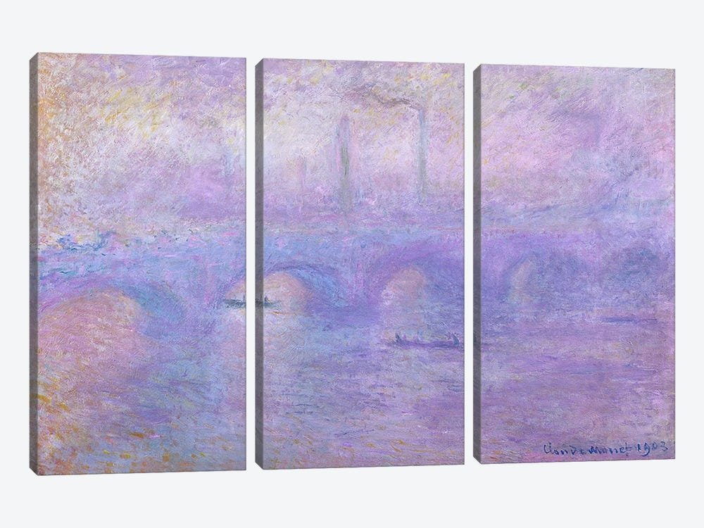 Waterloo Bridge in Fog, 1899-1901 by Claude Monet 3-piece Canvas Print