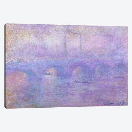 Waterloo Bridge in Fog, 1899-1901  Canvas Print #BMN1544} by Claude Monet Canvas Wall Art
