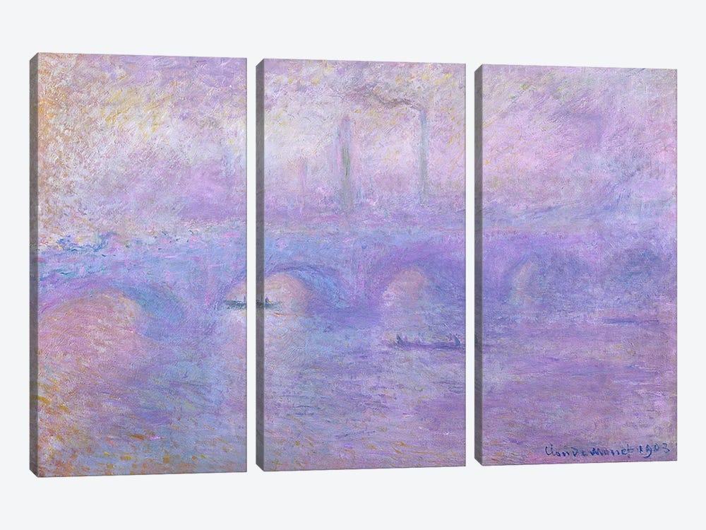 Waterloo Bridge in Fog, 1899-1901  by Claude Monet 3-piece Canvas Print