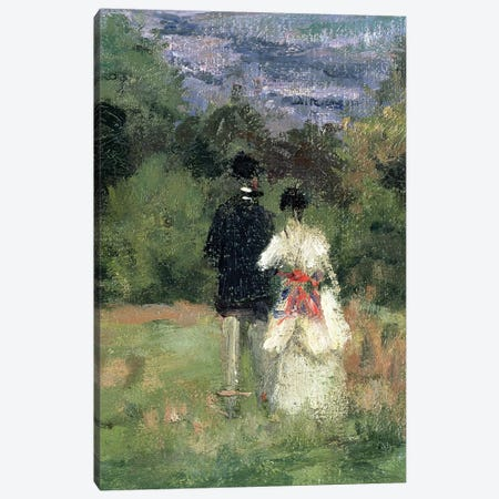 Louveciennes, detail of lovers  Canvas Print #BMN1545} by Camille Pissarro Canvas Wall Art