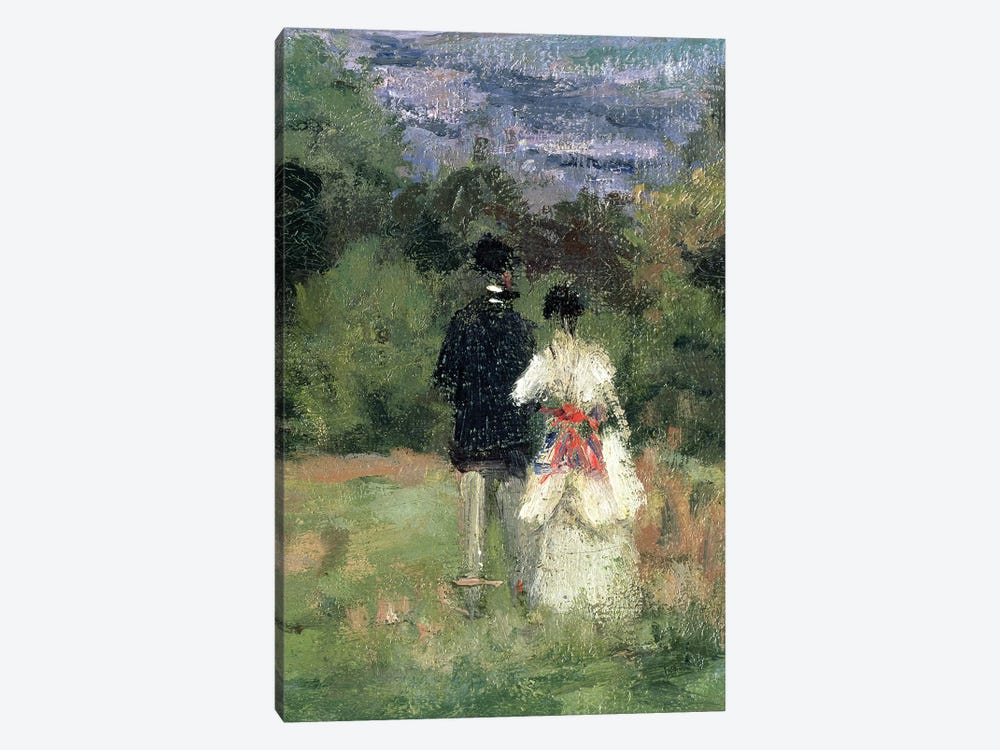 Louveciennes, detail of lovers  by Camille Pissarro 1-piece Canvas Wall Art