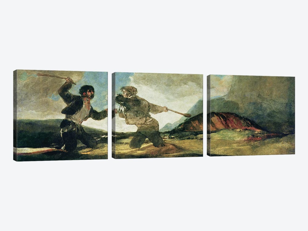 Duel with Clubs  by Francisco Goya 3-piece Canvas Wall Art