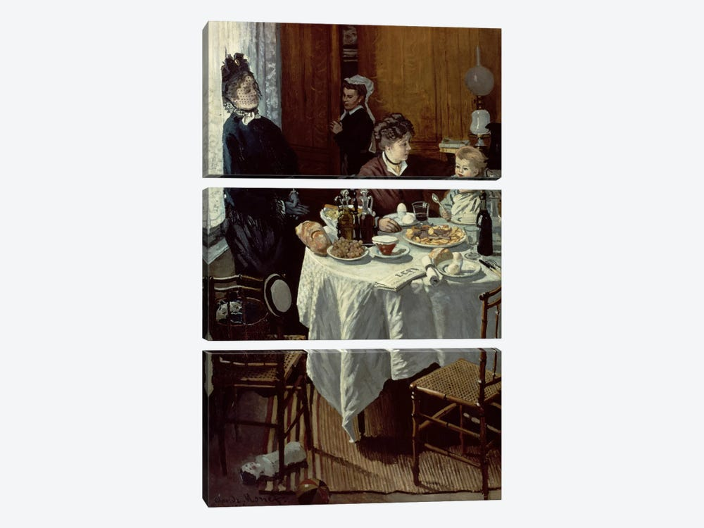 The Breakfast, 1868  by Claude Monet 3-piece Canvas Print