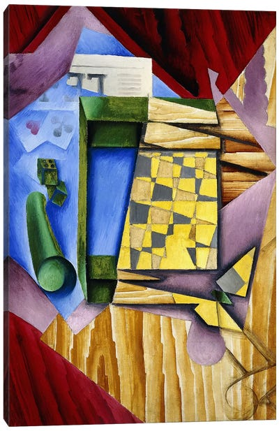 Backgammon, 1913-14 (oil on canvas) Canvas Art Print