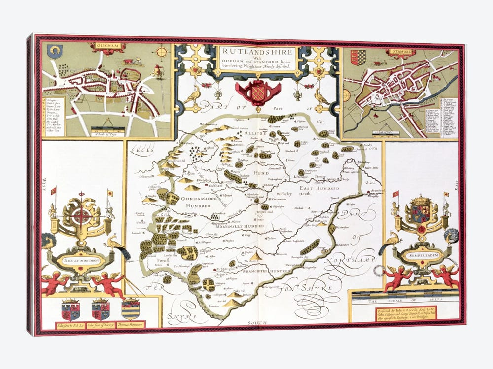 Rutlandshire with Oukham and Stanford, engraved by Jodocus Hondius  by John Speed 1-piece Canvas Art