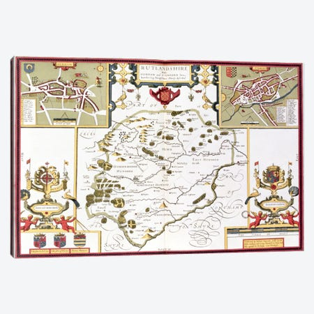 Rutlandshire with Oukham and Stanford, engraved by Jodocus Hondius  Canvas Print #BMN1552} by John Speed Canvas Art