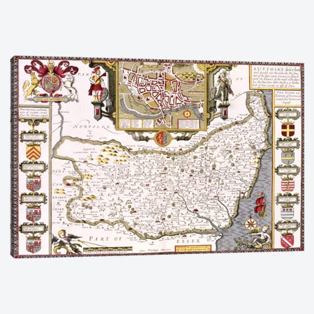 Suffolk and the situation of Ipswich, engraved by Jodocus Hondius  Canvas Print #BMN1553} by John Speed Canvas Artwork
