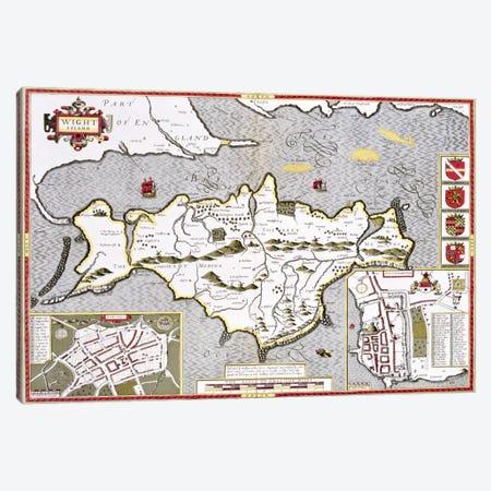 Wight Island, engraved by Jodocus Hondius  Canvas Print #BMN1555} by John Speed Canvas Print