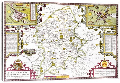 Stafford County and Town, engraved by Jodocus Hondius  Canvas Print #BMN1558