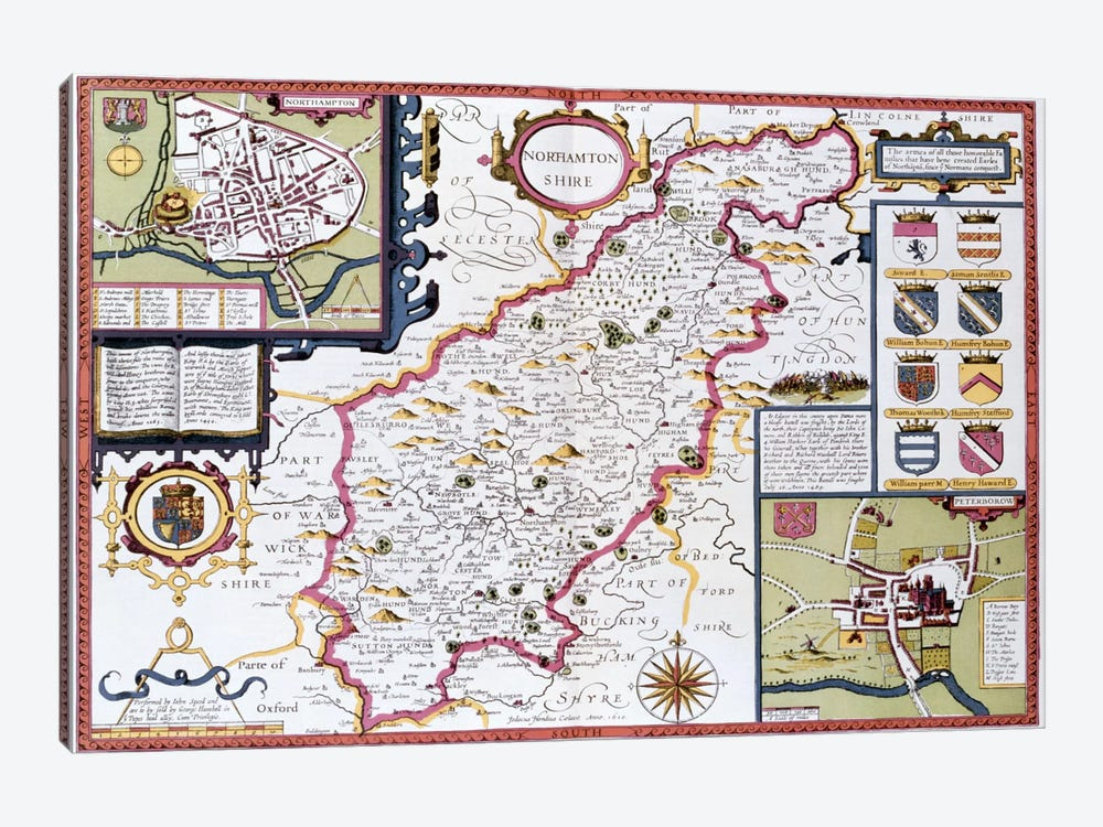Northamtonshire, engraved by Jodocus Hondius  by John Speed 1-piece Canvas Print