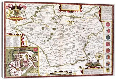 Leicester, engraved by Jodocus Hondius  Canvas Art Print