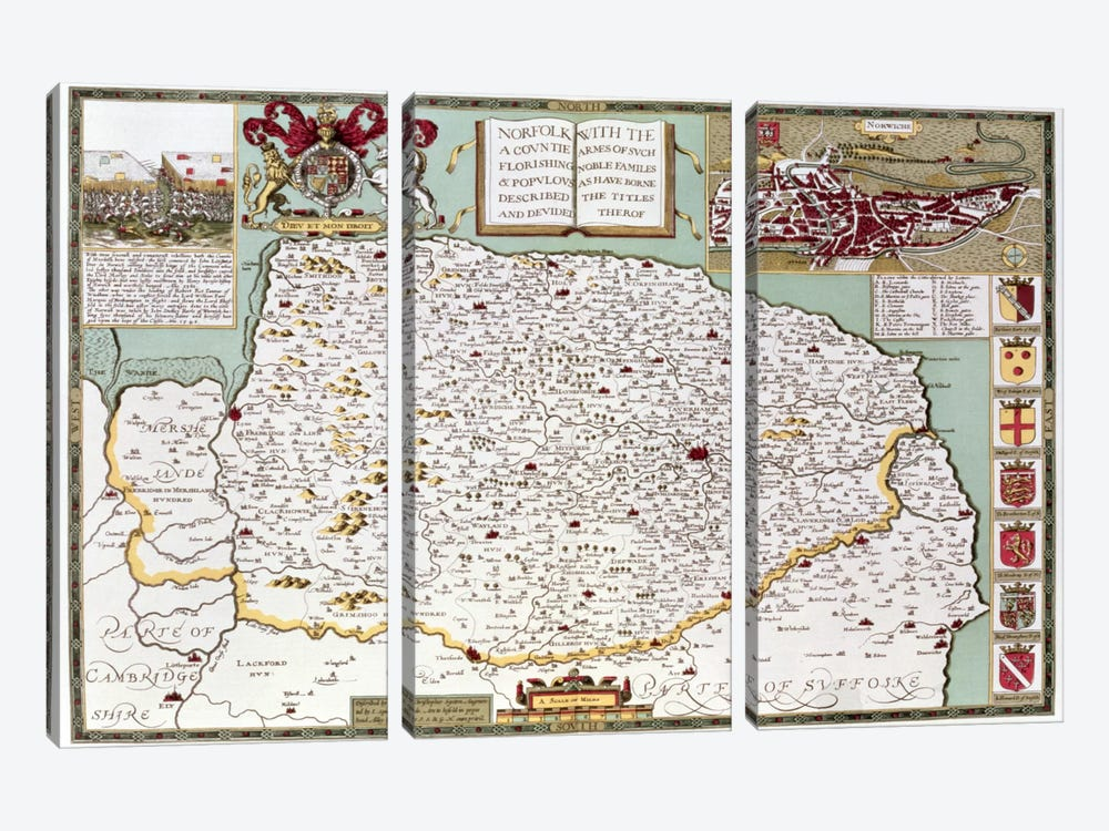 Norfolk, engraved by Jodocus Hondius  by John Speed 3-piece Canvas Art Print