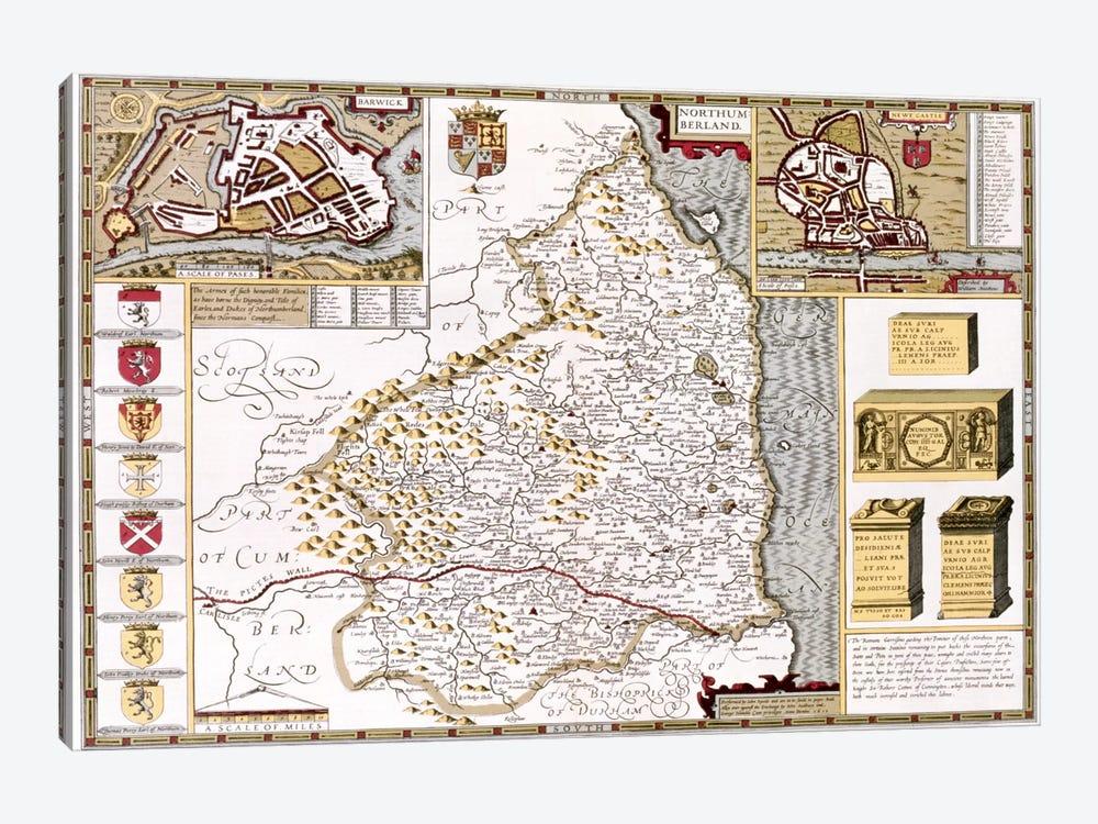 Northumberland, engraved by Jodocus Hondius  by John Speed 1-piece Canvas Art Print