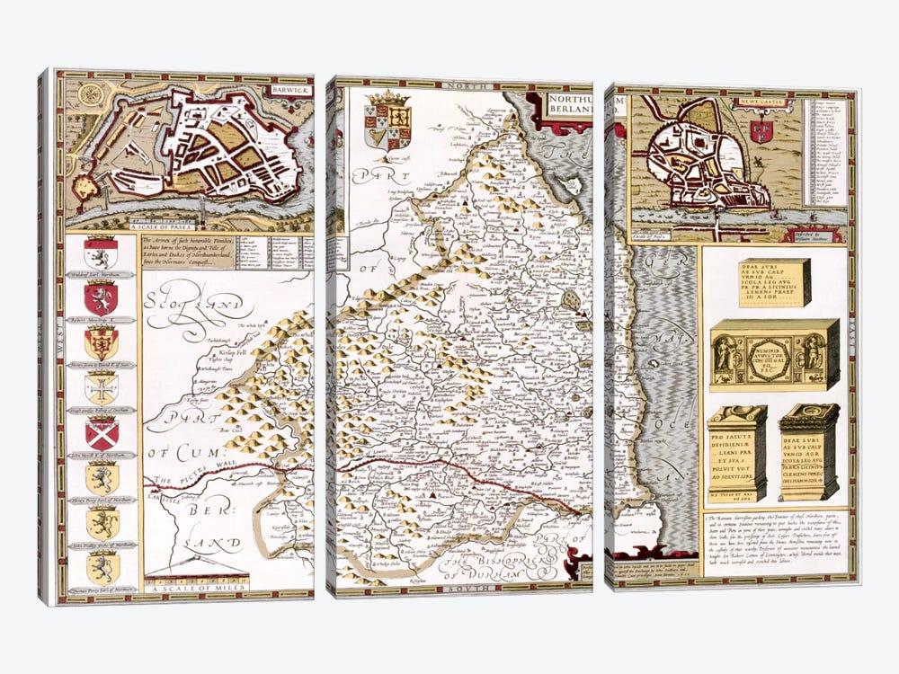 Northumberland, engraved by Jodocus Hondius  by John Speed 3-piece Canvas Art Print
