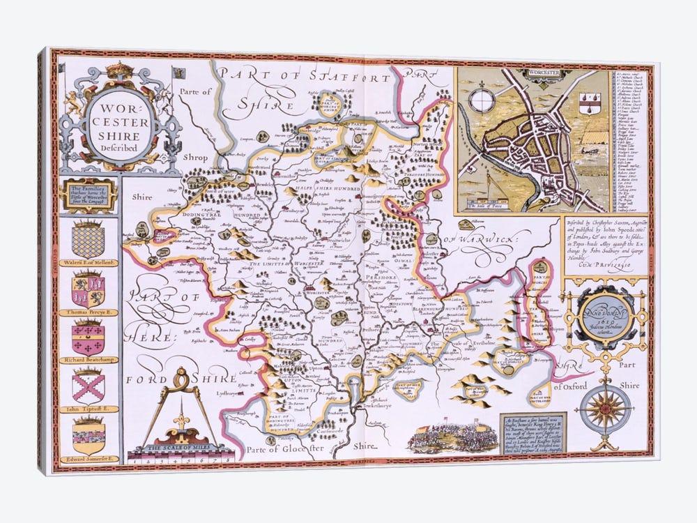 Worchestershire, engraved by Jodocus Hondius  by John Speed 1-piece Canvas Artwork