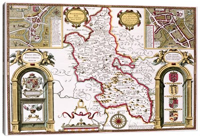 Buckinghamshire, engraved by Jodocus Hondius  Canvas Art Print
