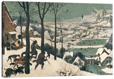 Hunters in the Snow - January, 1565 Canvas Art Print