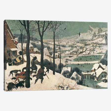 Hunters in the Snow - January, 1565 Canvas Print #BMN157} by Pieter Brueghel the Elder Canvas Art Print