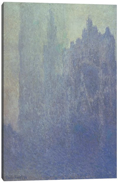 Rouen Cathedral, Foggy Weather, 1894 Canvas Art Print