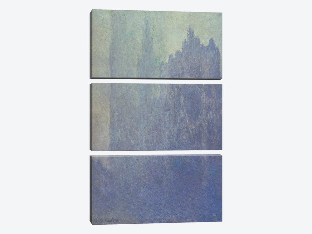 Rouen Cathedral, Foggy Weather, 1894 by Claude Monet 3-piece Canvas Print