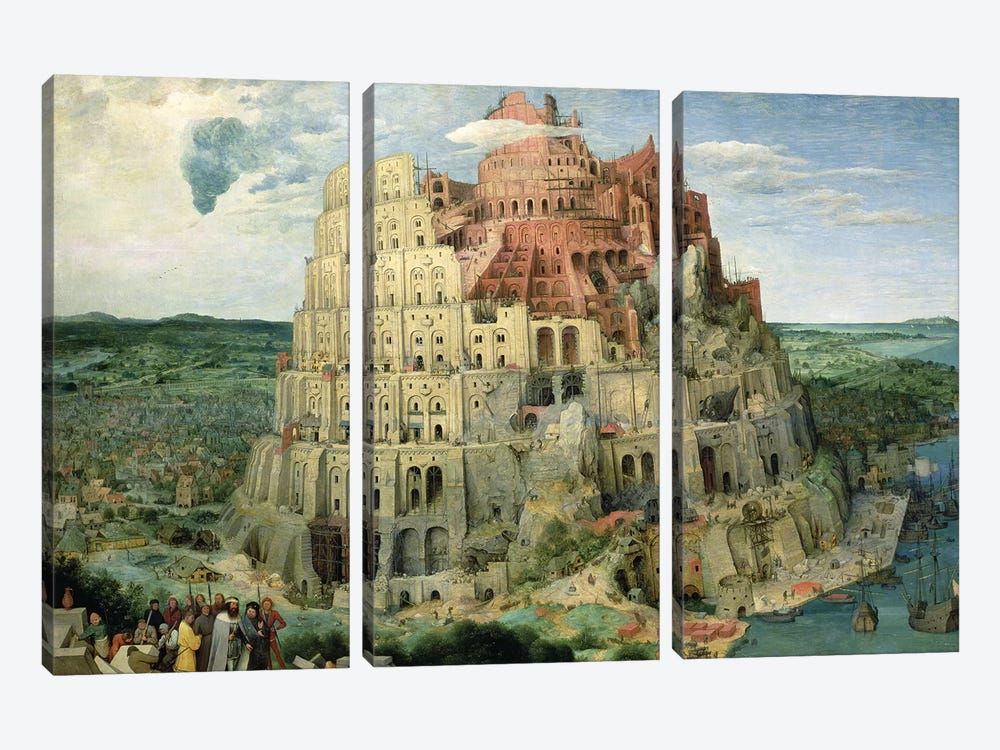 Tower of Babel, 1563 by Pieter the Elder Bruegel 3-piece Canvas Print