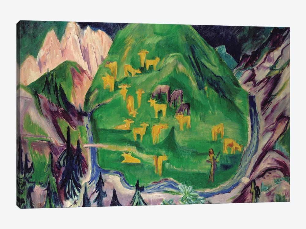 Field of Livestock, 1918  by Ernst Ludwig Kirchner 1-piece Canvas Artwork
