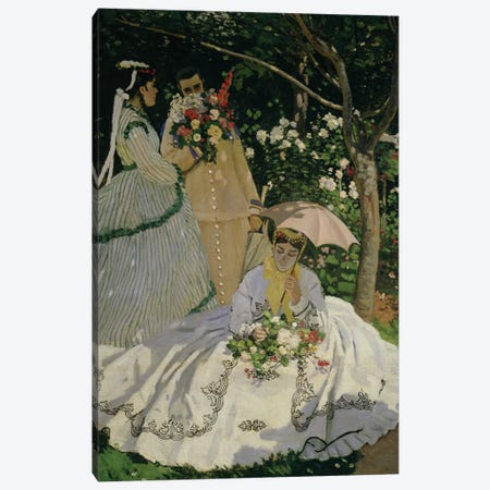 Women in the Garden, detail of a Seated Woman with a Parasol, 1866   Canvas Print #BMN1599} by Claude Monet Canvas Art