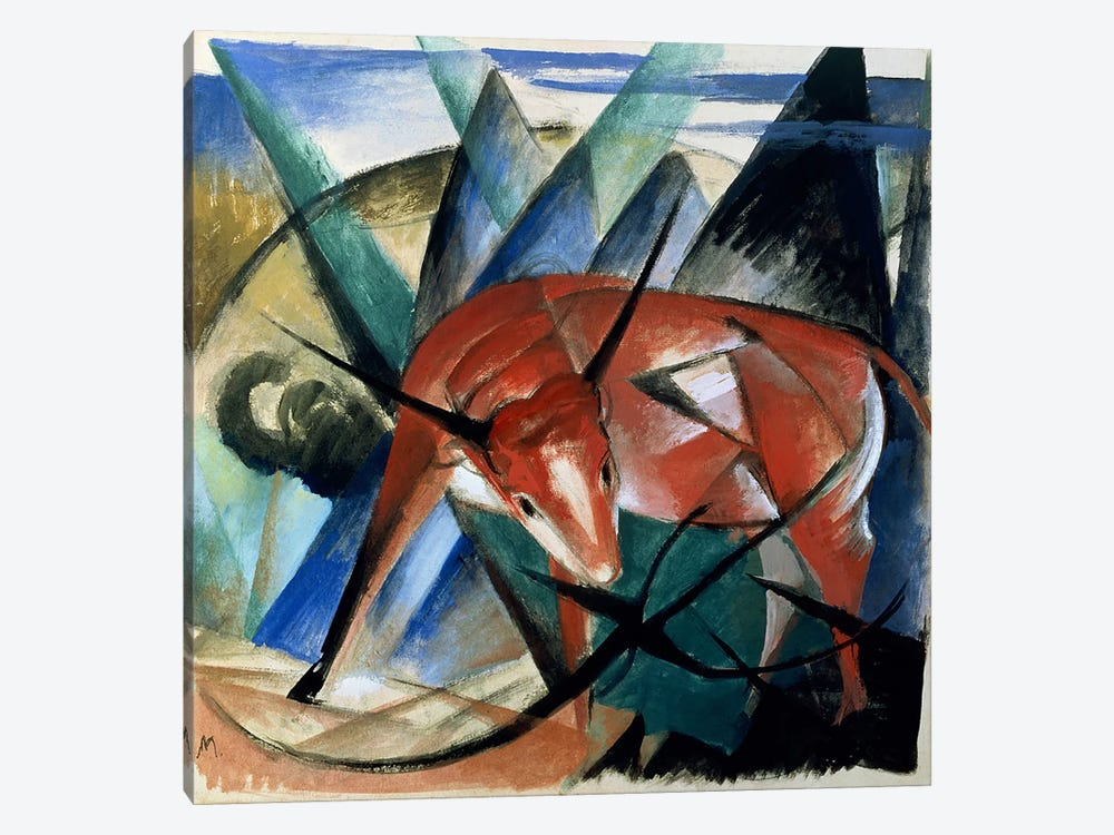 Red Bull by Franz Marc 1-piece Canvas Art Print